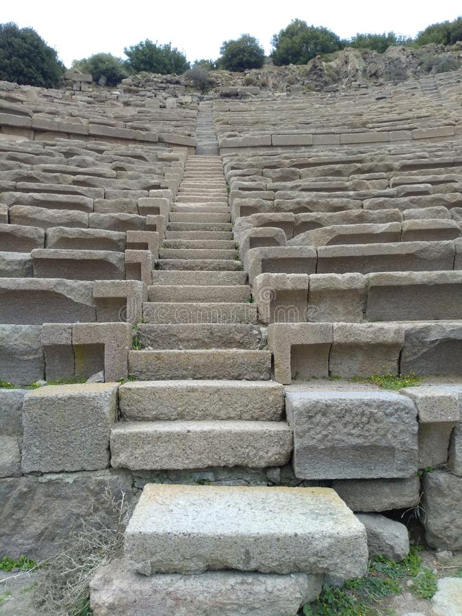 Assos Ancient City Theatre. It is located in Turkey nears Troy Ancient City. assos theatre road stock image