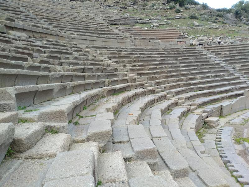Assos Ancient City Theatre. It is located in Turkey nears Troy Ancient City. assos theatre road royalty free stock photo