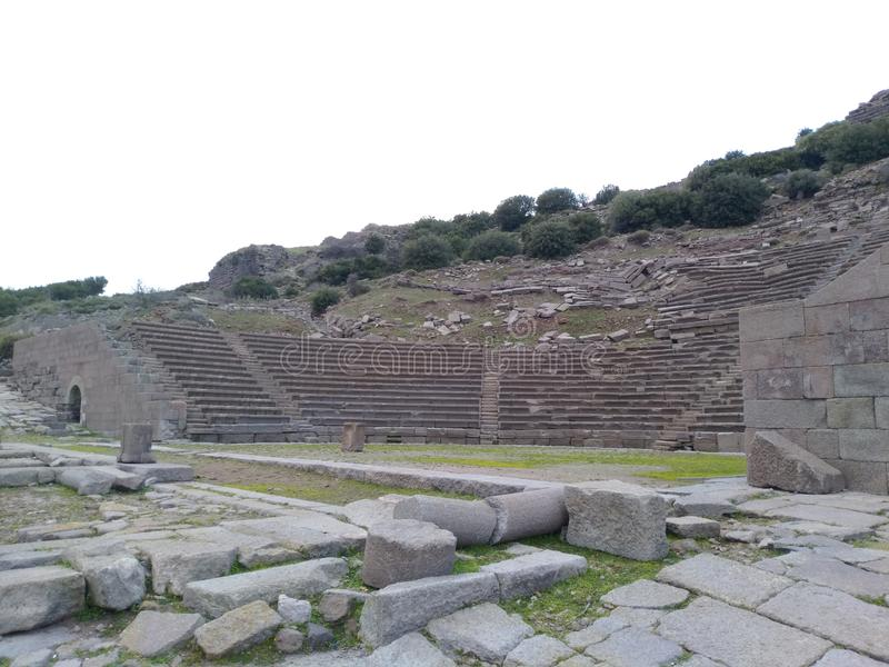 Assos Ancient City Theatre. It is located in Turkey nears Troy Ancient City. assos theatre road royalty free stock image
