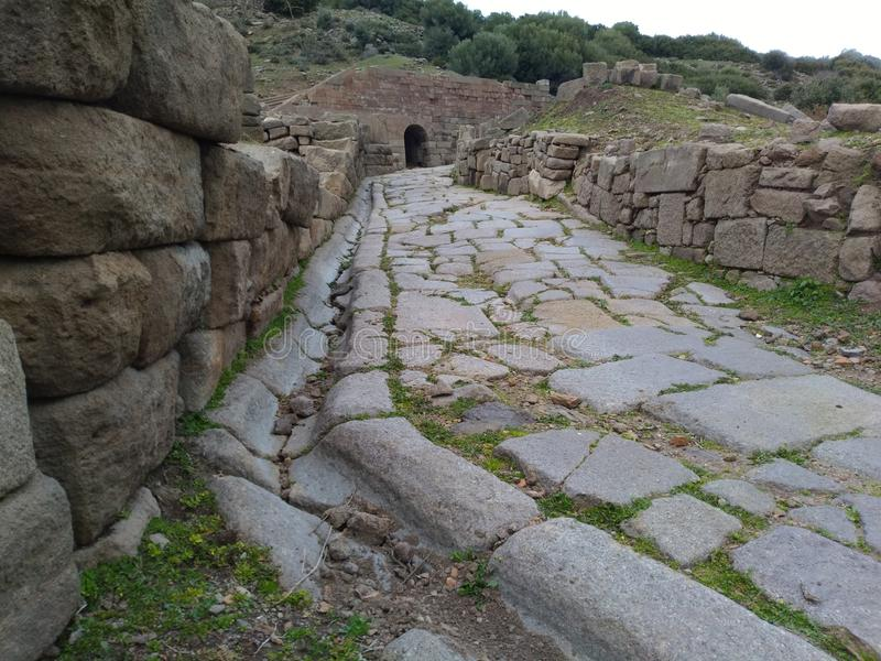 Assos Ancient City Theatre Road. It is located in Turkey nears Troy Ancient City stock photo
