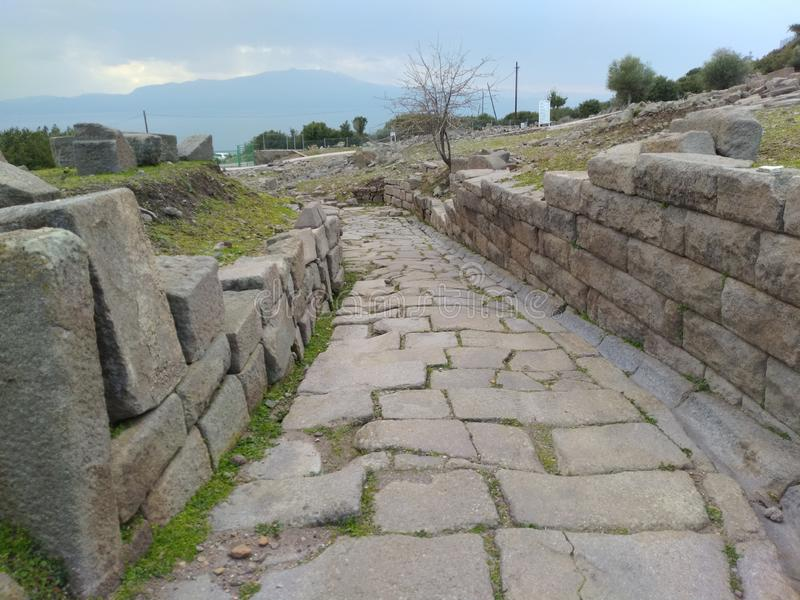 Assos Ancient City Theatre Road. It is located in Turkey nears Troy Ancient City. assos theatre road stock photos