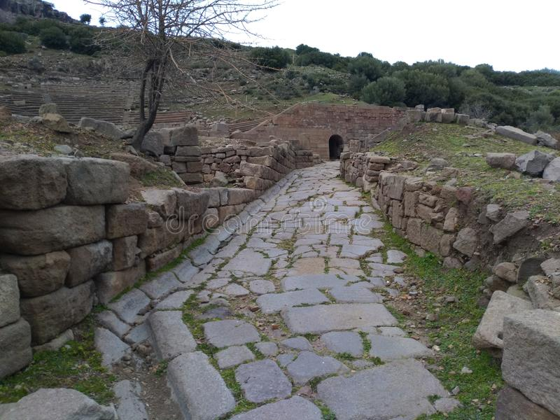 Assos Ancient City Theatre Road. It is located in Turkey nears Troy Ancient City. assos theatre road royalty free stock images