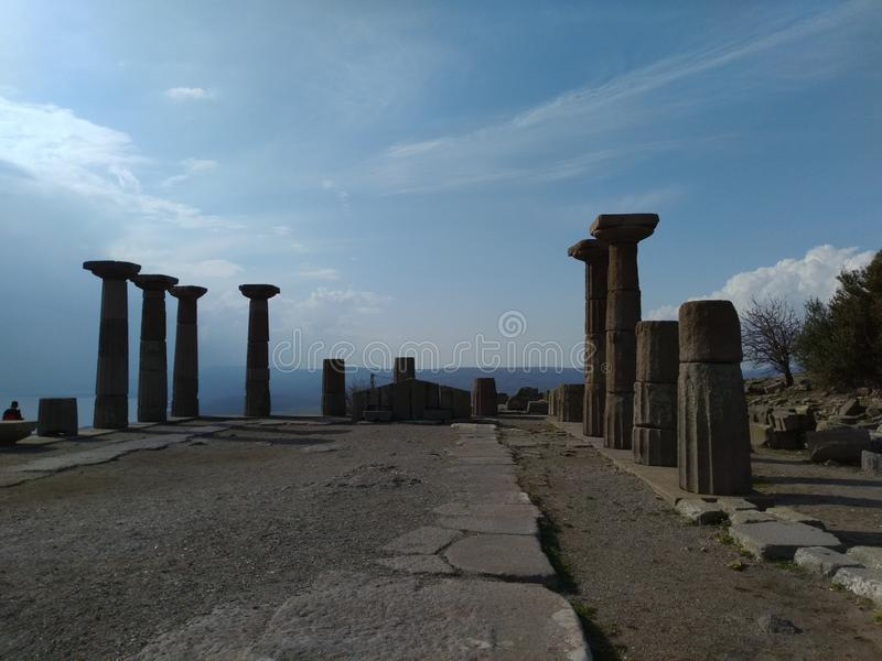 Assos Athena Temple. It is located in the Turkey nears Troy ancient city. assos athena temple stock photo