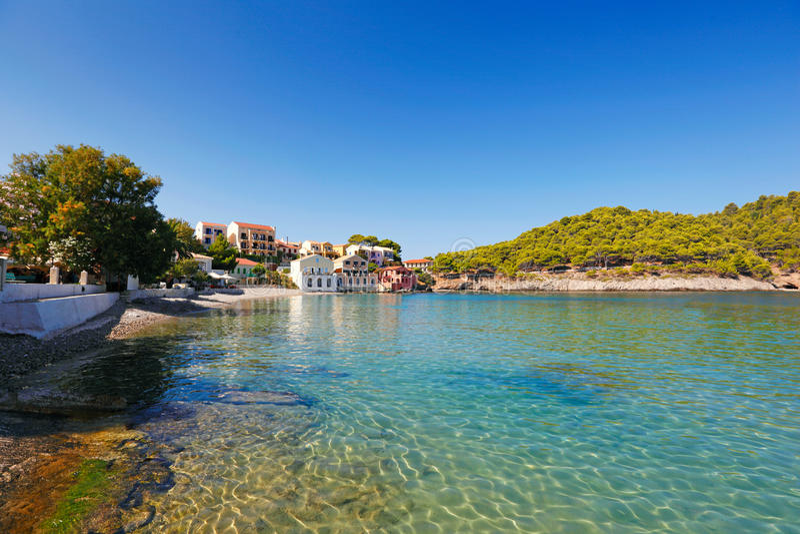 Assos in Kefalonia-eiland, Griekenland royalty-vrije stock afbeelding