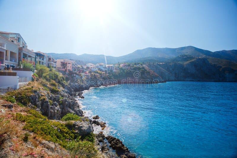 Assos op het Eiland Kefalonia in Griekenland stock afbeeldingen