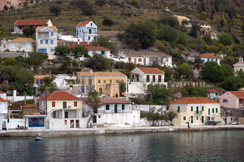 Assos village in Cephalonia royalty free stock photography