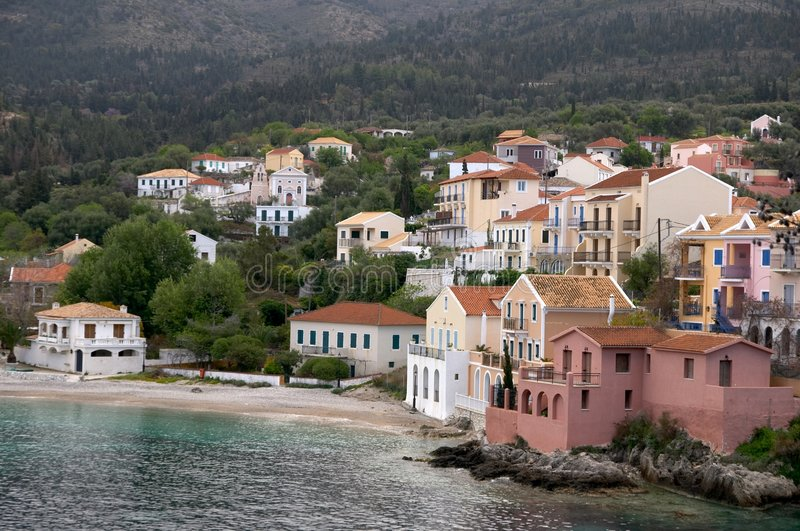 Assos village in Cephalonia royalty free stock photos