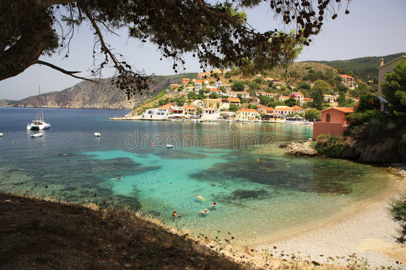 Assos village in Kefalonia royalty free stock photography