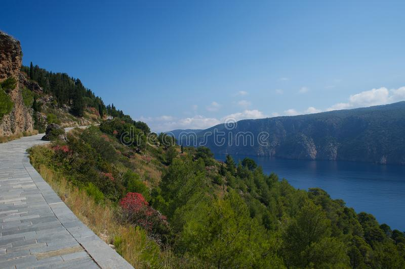Assos village path in Kefalonia Cephalonia island in Greece royalty free stock images