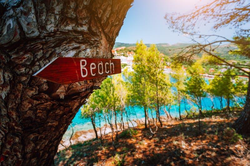 Assosdorp Kefalonia Griekenland Teken van de strand het houten pijl op een pijnboomboom die richting tonen aan klein verborgen st royalty-vrije stock foto