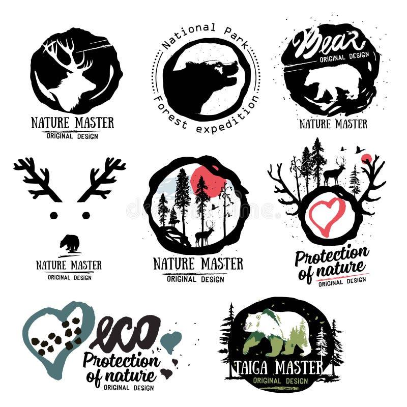 Assosiated met de zomer Wilde dieren van het bosembleemteken Openluchtsymbool logotype Het teken van het Taigaembleem vector illustratie