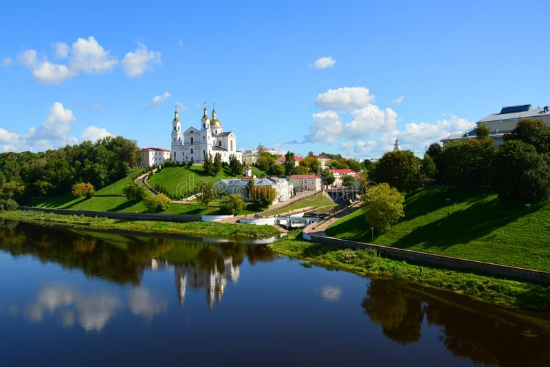 Assumption Cathedral of the Assumption on the hill and the Holy Spirit convent and Western Dvina River. Vitebsk. Belarus stock photography