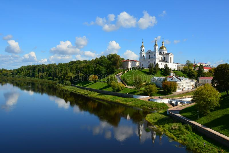 Assumption Cathedral of the Assumption on the hill and the Holy Spirit convent and Western Dvina River. Vitebsk. Belarus stock images