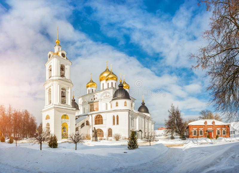 Assumption Cathedral with a bell tower. In the Kremlin in Dmitrov, illuminated by a winter frosty sun stock photo