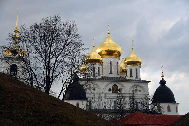 Assumption cathedral. Kremlin in Dmitrov, ancient town in Moscow region. Color photo. Golden onions are shining royalty free stock photography