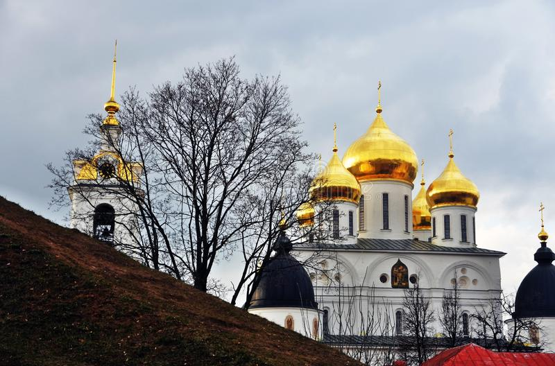 Assumption cathedral. Kremlin in Dmitrov, ancient town in Moscow region. Color photo. Golden onions are shining royalty free stock images