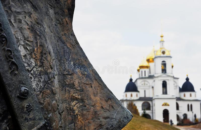Assumption cathedral. Kremlin in Dmitrov, ancient town in Moscow region. Color photo. Golden onions are shining royalty free stock image