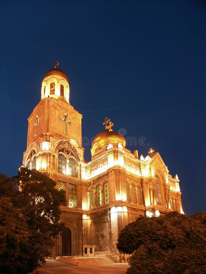Download The Assumption Cathedral By Night Stock Image - Image: 4736859