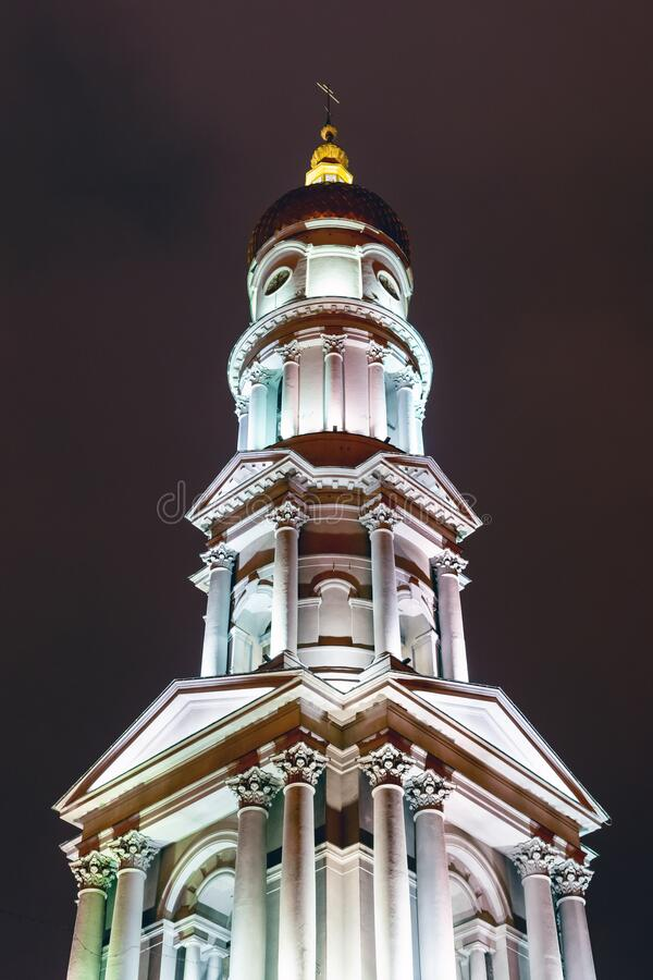 Assumption Cathedral at night lit by lights. Kharkov, Ukraine.  stock images