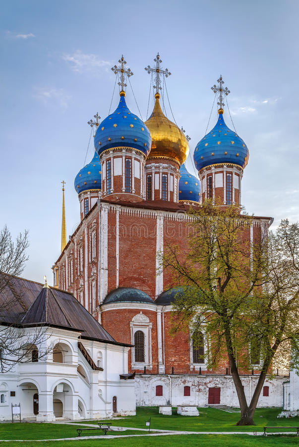 Cathedral of the Dormition, Ryazan, Russia. Assumption Cathedral of the Ryazan Kremlin was built in 1693-1699 years by the architect Yakov Bukhvostau, Ryazan royalty free stock images