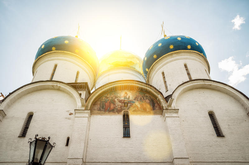 Assumption Cathedral in Trinity Lavra of St Sergius in Sergiyev. Posad, near Moscow, Russia. The Trinity Lavra is one of the greatest of Russian monasteries royalty free stock image