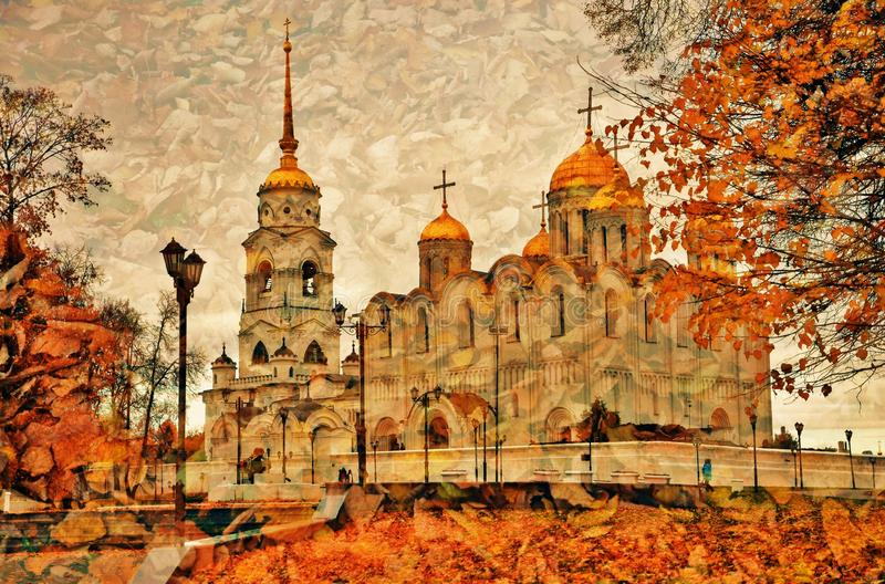 Assumption cathedral in Vladimir, Russia. Artistic autumn collage. Assumption cathedral in Vladimir, Russia, famous by its frescoes painted by Andrey Rublev royalty free stock photo