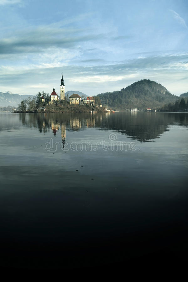 Assumption Church in Bled, Slovenia stock images