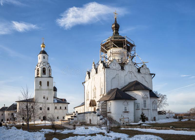 Assumption Monastery, Sviyazhsk. Assumption Cathedral and the Church of St. Nicholas with a bell tower in the Uspensky monastery of Sviyazhsk, Russia stock photography