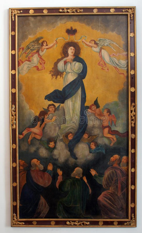 Assumption of the Virgin. Mary stock photo