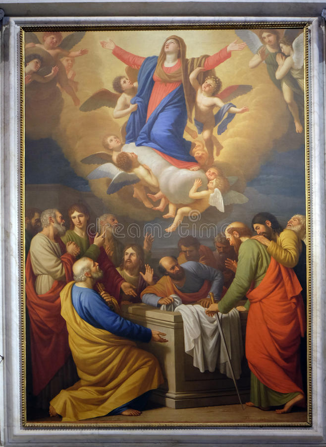 Assumption of the Virgin Mary. Altarpiece depicting Assumption of the Virgin Mary, work by Stefano Tofanelliin Cathedral of St.Martin in Lucca, Italy royalty free stock photography