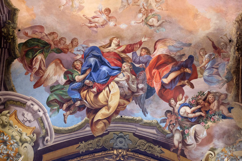 Assumption of the Virgin Mary. Fresco painting in San Petronio Basilica in Bologna, Italy stock photos