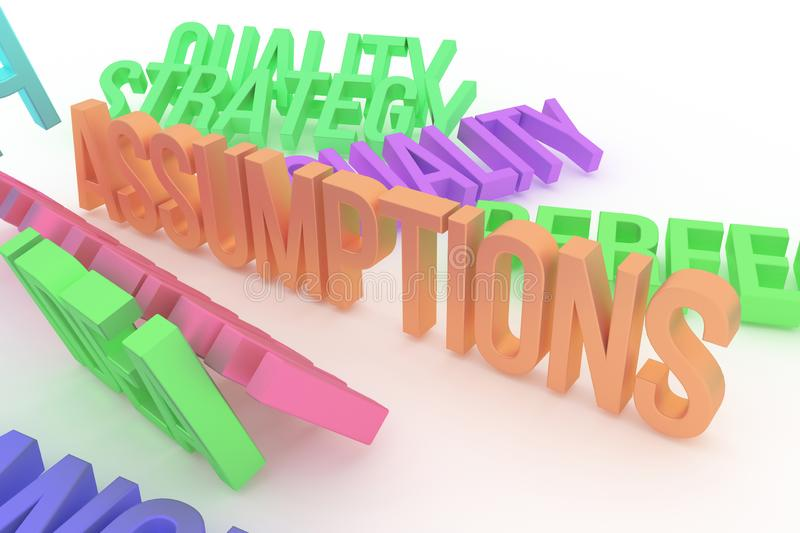 Assumptions, business conceptual colorful 3D rendered words. Background, caption, wallpaper & graphic. Assumptions, business conceptual colorful 3D rendered royalty free illustration