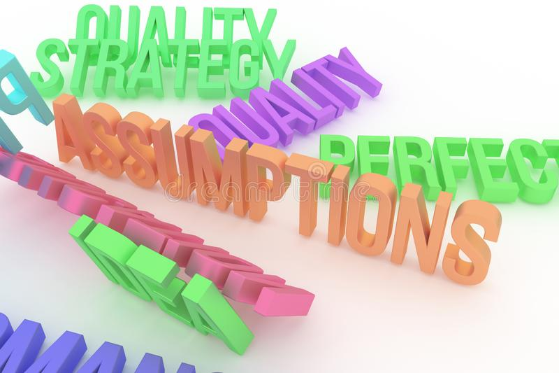 Assumptions, business conceptual colorful 3D rendered words. Style, caption, alphabet & rendering. Assumptions, business conceptual colorful 3D rendered words stock illustration