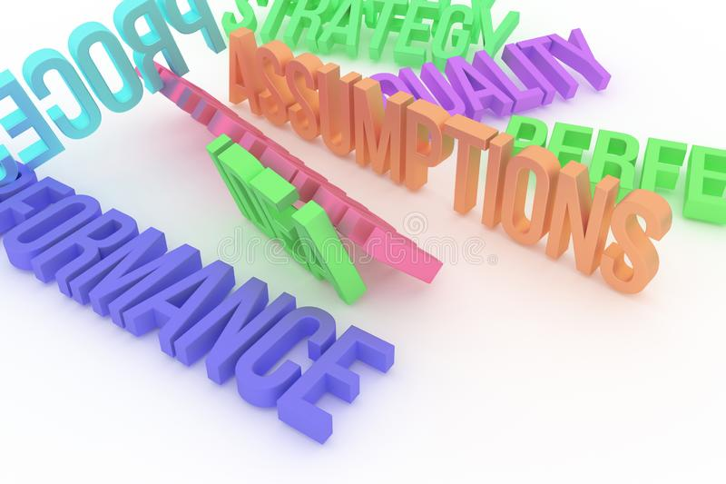 Assumptions, business conceptual colorful 3D rendered words. Typography, graphic, creativity & illustration. Assumptions, business conceptual colorful 3D stock illustration