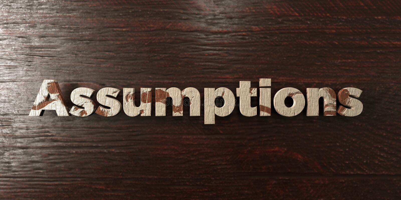 Assumptions - grungy wooden headline on Maple - 3D rendered royalty free stock image. This image can be used for an online website banner ad or a print royalty free illustration