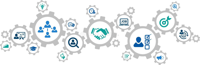Assunzione del †di concetto delle icone delle risorse umane «, lavoro di squadra, carriera: illustrazione di vettore illustrazione di stock