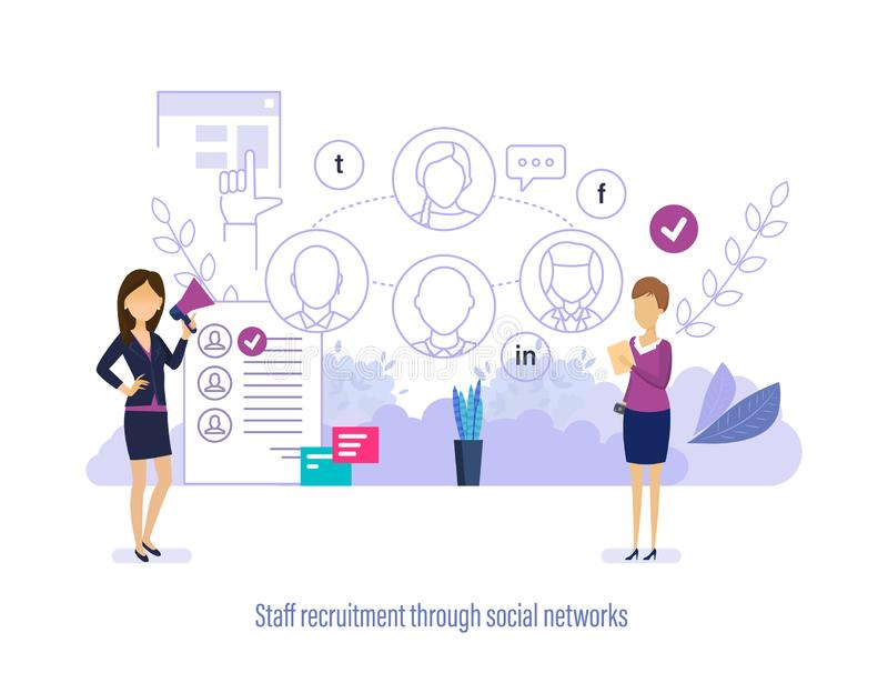 Assunzione del personale attraverso le reti sociali Personale online di ricerca, selezione del lavoro illustrazione di stock