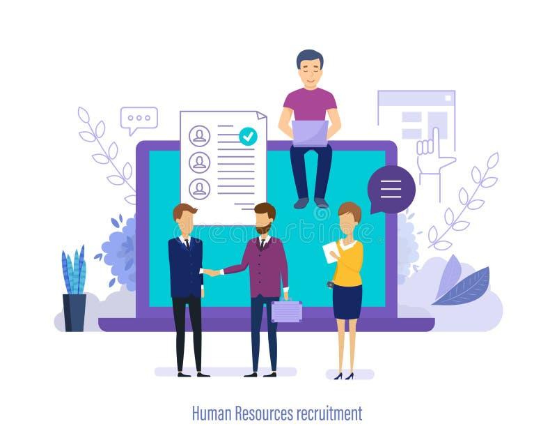 Assunzione della risorsa umana Personale di ricerca, selezione, riassunto di studio, lavoro di squadra illustrazione di stock