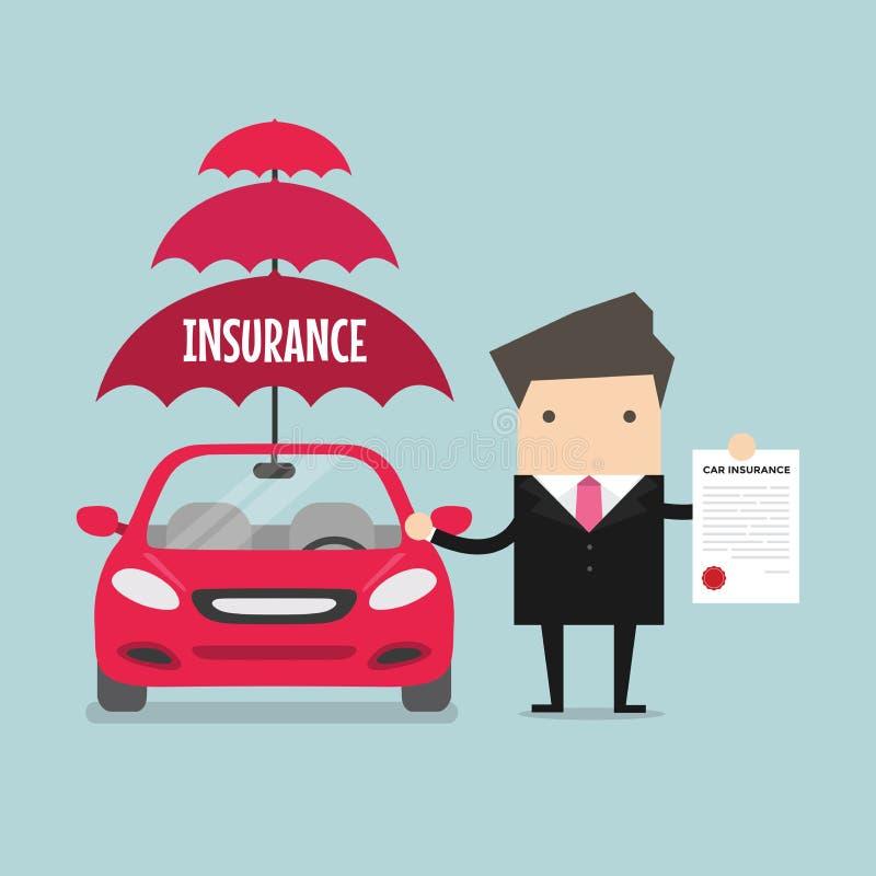 Assurance auto d'exposition d'homme d'affaires Vecteur illustration libre de droits