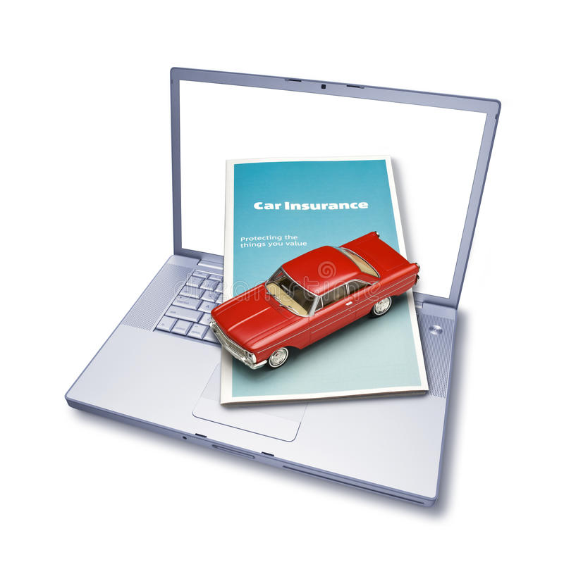 Assurance auto en ligne d'ordinateur photo libre de droits