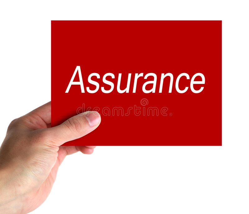 Assurance Concept. Hand hold a card with text of Assurance stock photos