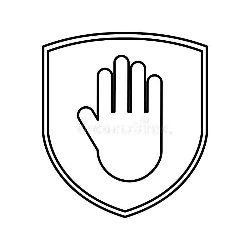 Assurance de bouclier avec l'icône d'isolement par arrêt de main illustration stock