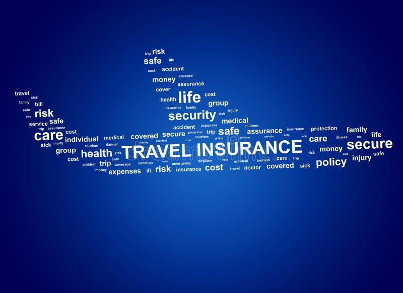 Assurance de voyage Étiquettes de nuage illustration stock