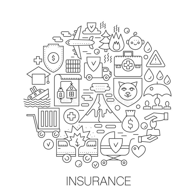 Assurance en cercle - illustration au trait concept pour la couverture, emblème, insigne La vie, la santé, la voiture et toute au illustration stock