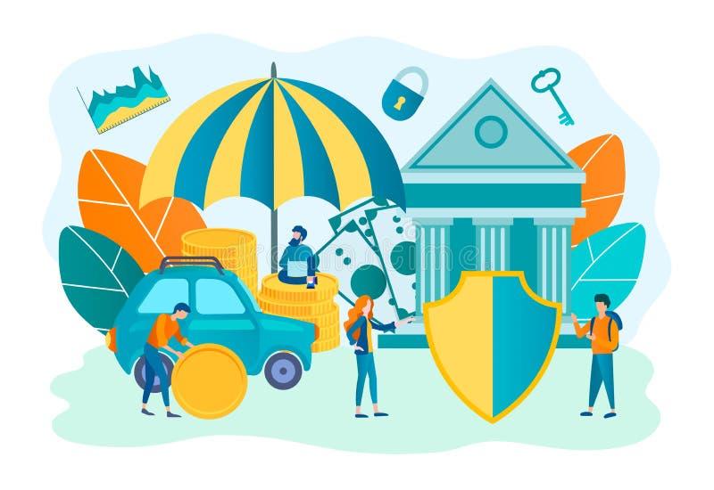 Assurance et protection des immobiliers, propriété, concept d'argent illustration stock