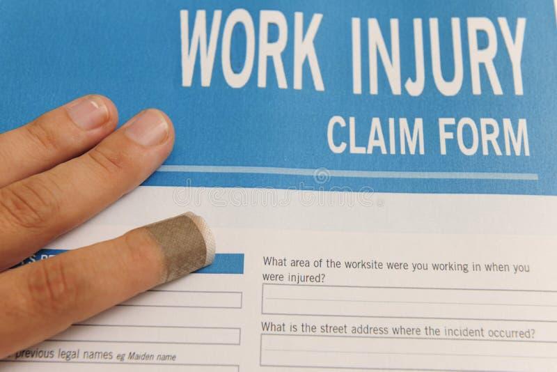 Assurance : forme de réclamation blanc de blessures de travail photos stock