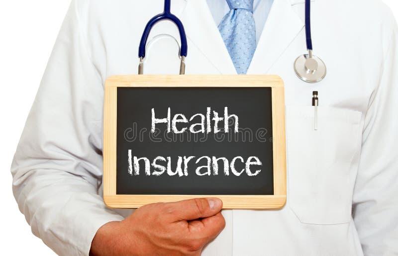 Assurance médicale maladie - soignez tenir le tableau avec le texte images libres de droits
