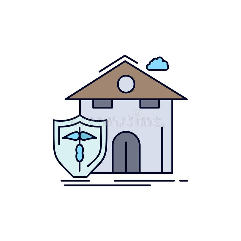 assurance, maison, maison, maison, victime, protection Vecteur d'icônes couleur plat illustration de vecteur