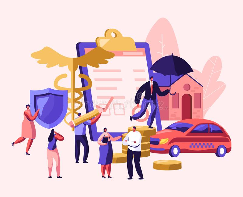 Assurance-maladie de propriété et de santé Le mâle et les personnages féminins signent le papier de police d'assurances, document illustration stock