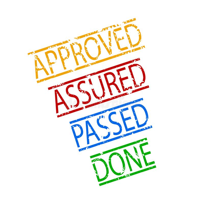 Assured, passed, done, approved rubber stamp royalty free illustration